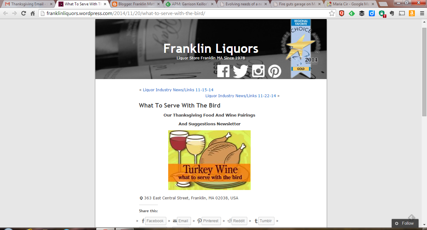 Franklin Liquors Thanksgiving suggestions