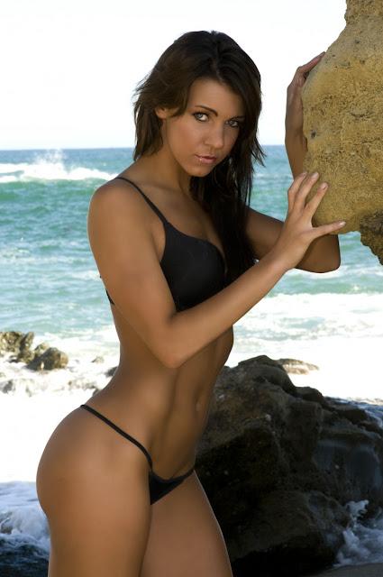 Alisha Lucik Binkini Black at Beach