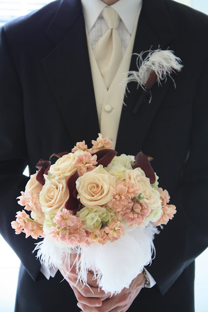 Ostrich feather bridal bouquet - Splendid Stems Floral Designs
