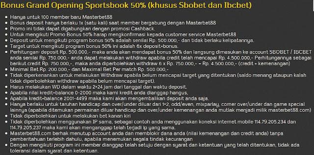 Masterbet88 Grand Op Masterbet88 Grand Opening Promo Bonus 50% Sportsbook dan Casino Onlineening Promo Bonus 50% Sportsbook dan Casino Online