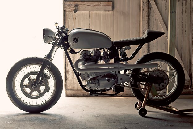Triumph Bonneville cafe racer By Loaded Gun Customs . This Triumph Bonneville cafe racer has been named as The 72 mono racer.