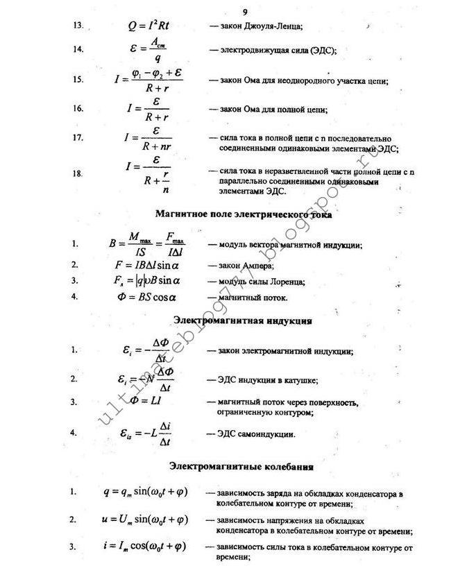 Экзамен по физике 10 класс первое полугодие