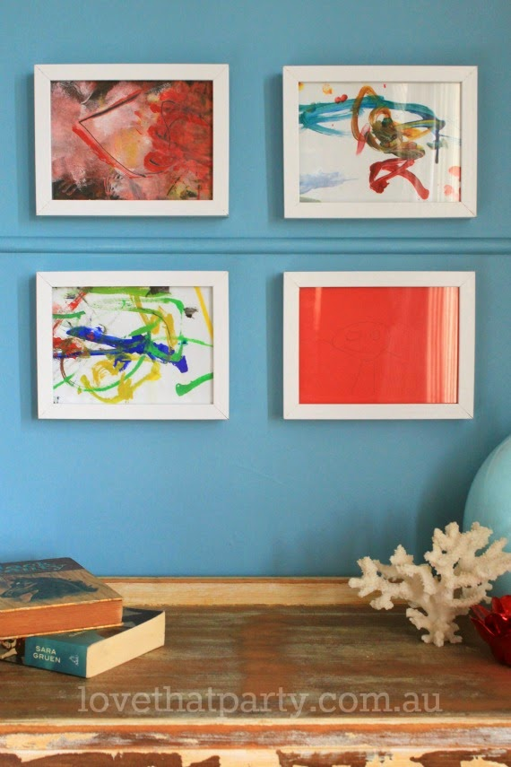 framed kid's art, art gallery wall, kid's art, kid's craft, home decorating