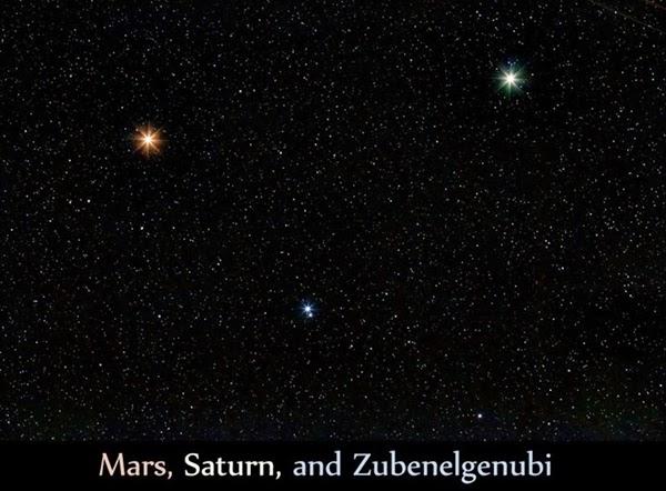 Mars-Saturnus-Zubenelgenubi Membentuk Formasi Segitiga Malam Ini