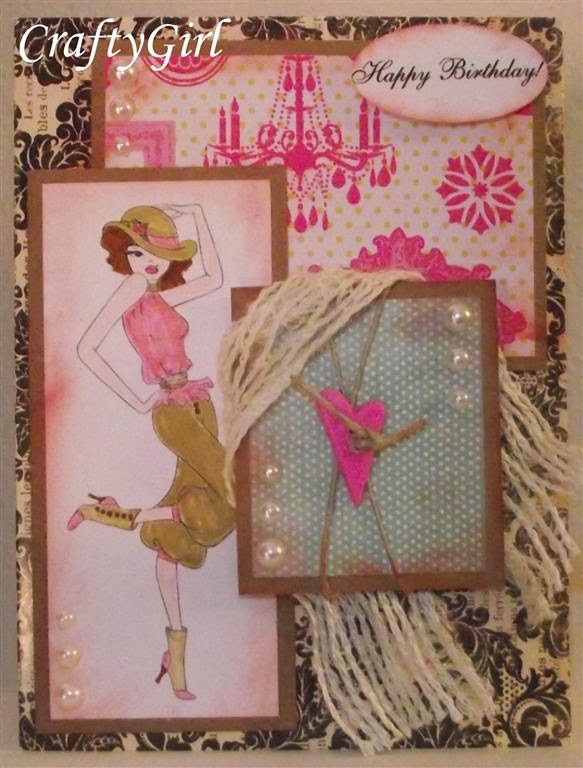 "link up for pink ""sassy cassie"" birthday card, Birthday card"