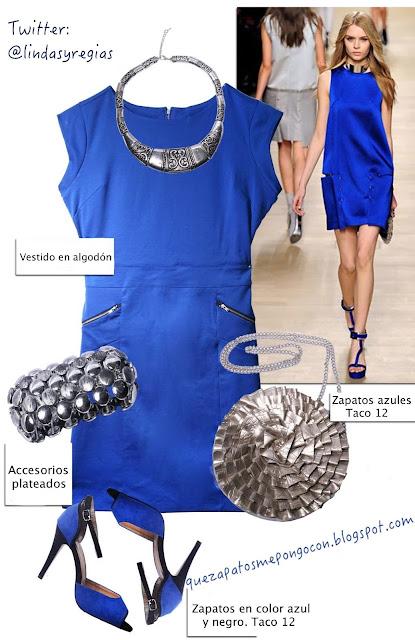 Vestido azul fiesta accesorios