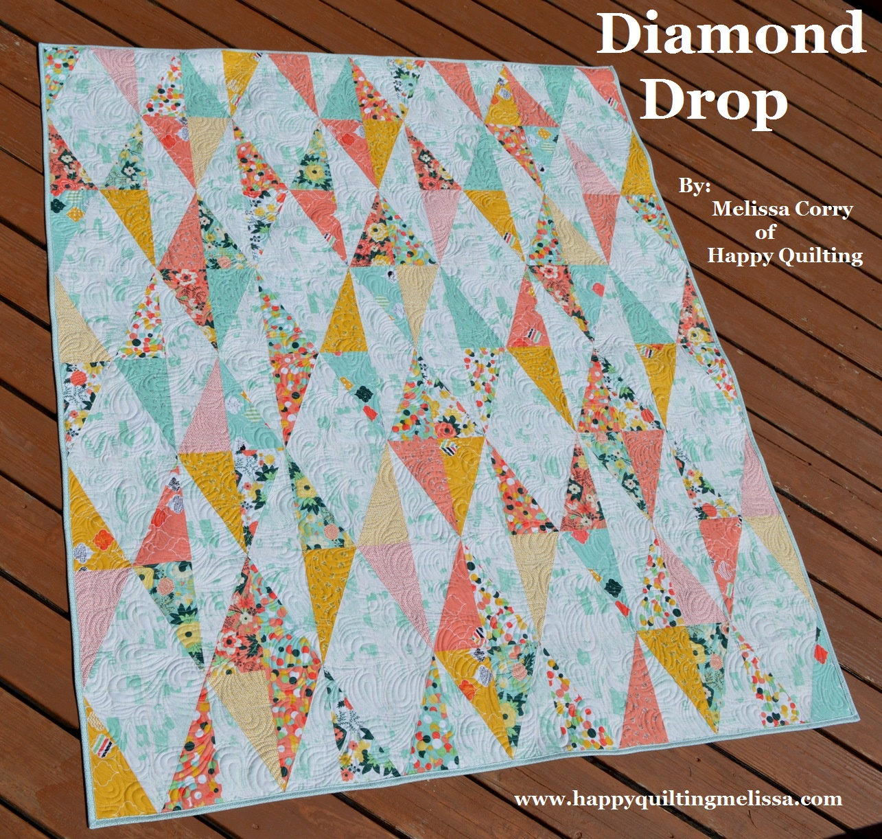 Happy Quilting: Diamond Drop Quilt - A Finish and Tutorial : diamond quilt pattern free - Adamdwight.com