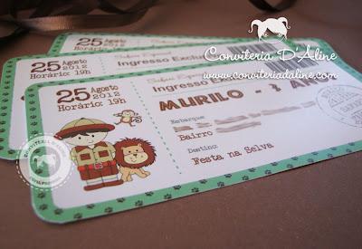 convite ingresso safari