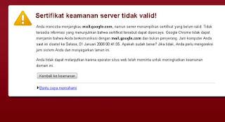 Sertifikat keamanan server tidak valid