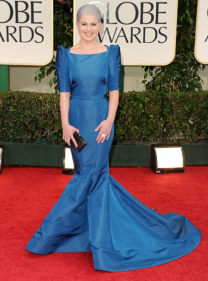 Kelly+Osborne+in+blue+Zac+Posen+gown+at+Golden+Globe+Awards
