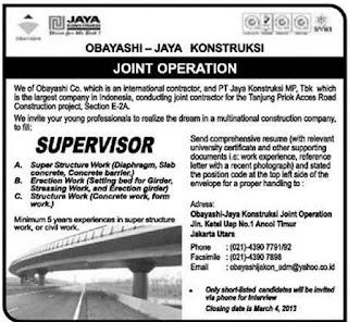 Lowongan supervisor kontraktor Jaya Obayashi Februari Maret 2013