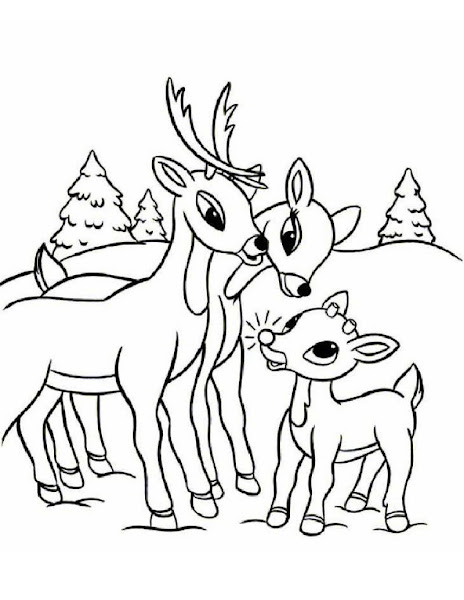 Red-Nosed Reindeer Coloring Pages