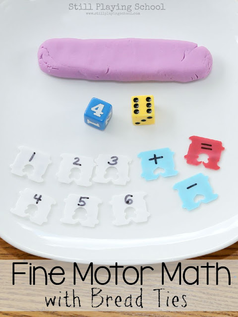 Fine Motor Math Dice Game Using Bread Ties: Adaptable for All Ages from Still Playing School