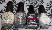 OPI 'Don't Touch My Tutu', OPI 'Pirouette My Whistle', Sally Hansen 'Big Smoky Top Coat', and Konad Special Polish in White