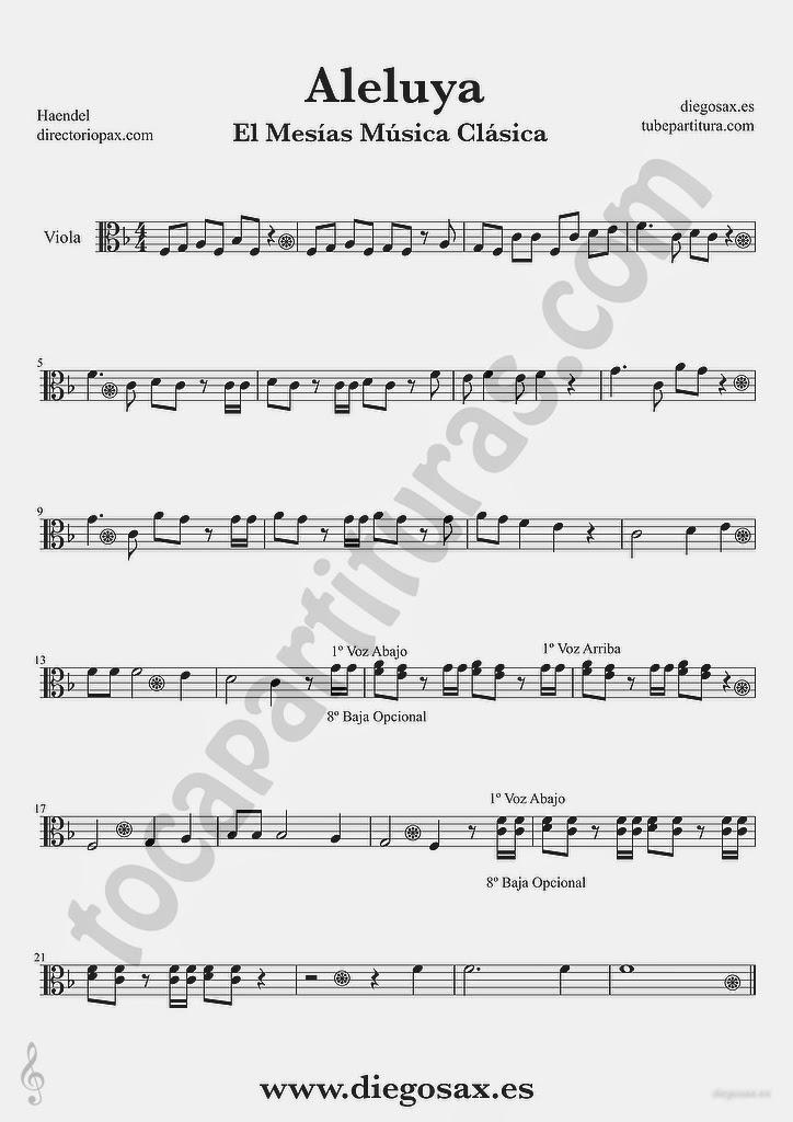 Tubepartitura Aleluya de Haendel partitura de Viola El Mesias
