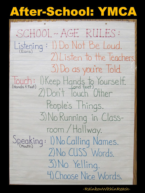 School Age Rules Poster at YMCA