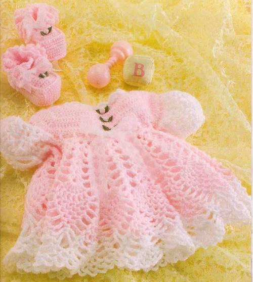 Вязание платья крючком для новорожденной девочки