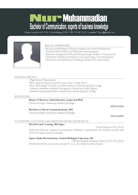 Contoh Resume/Curriculum Vitae Fresh Graduate