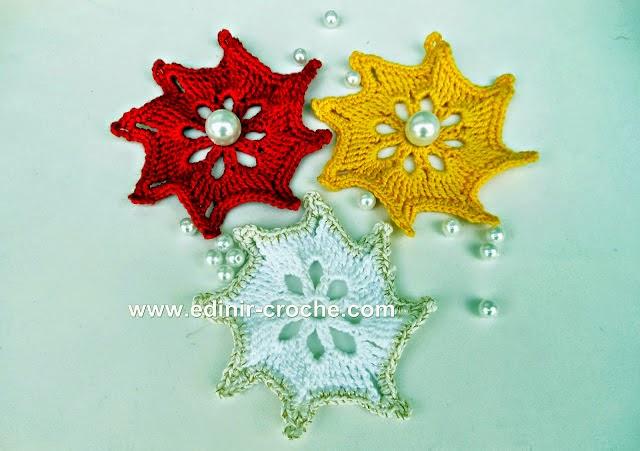aprender croche estrelas natal coloridas azul vermelho amarelo edinir-croche pap dvd video-aulas loja curso de croche frete gratis