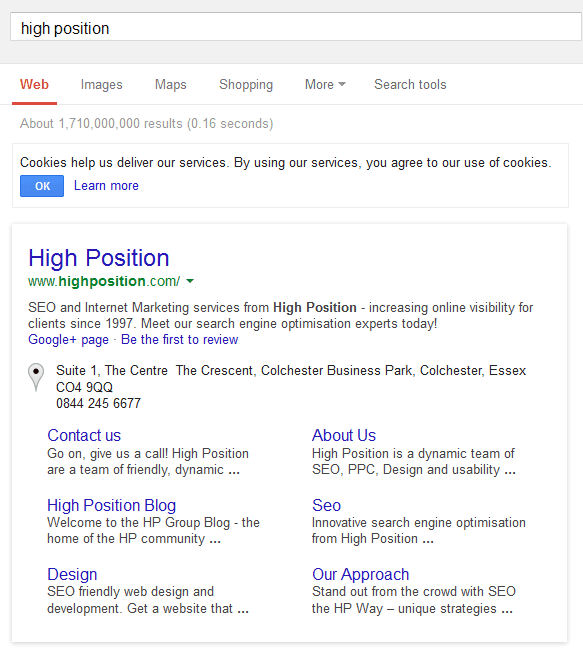 Highposition.com Google Sitelinks Board