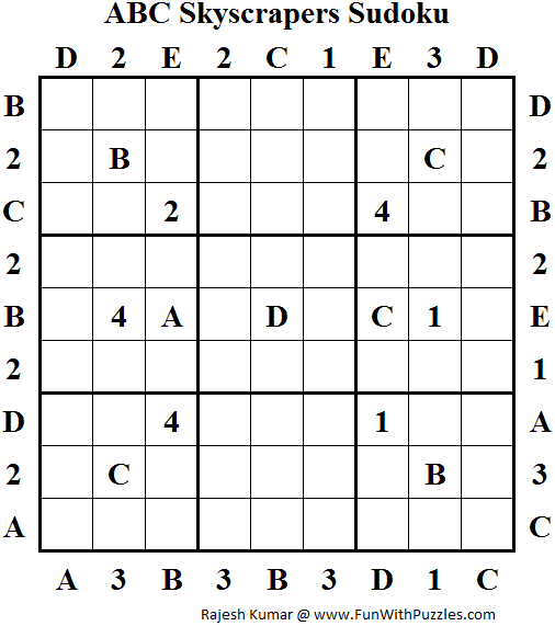 ABC Skyscrapers Sudoku (Daily Sudoku League #131)