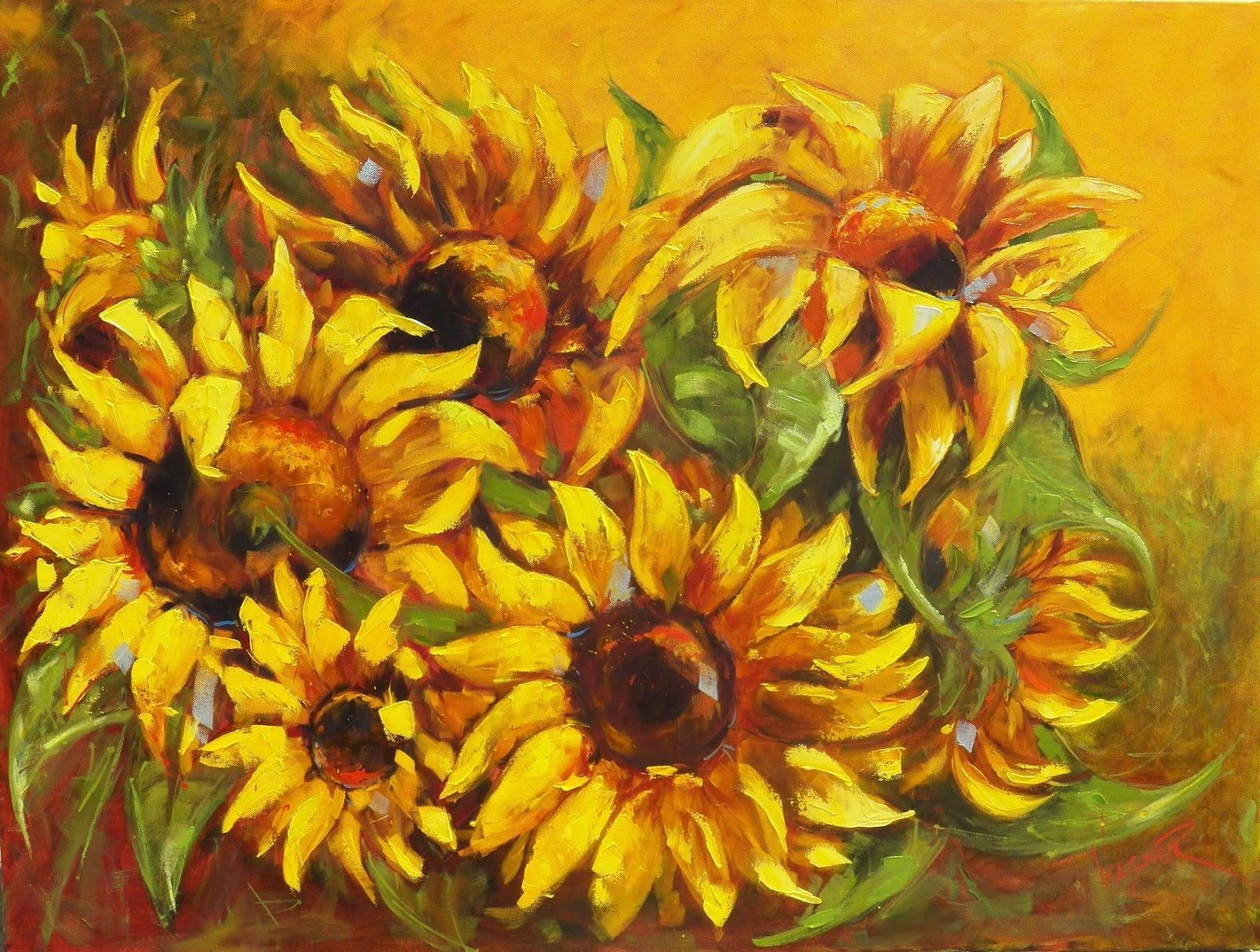 Olga Paints: LARGE SUNFLOWERS in a FIELD OIL PAINTING