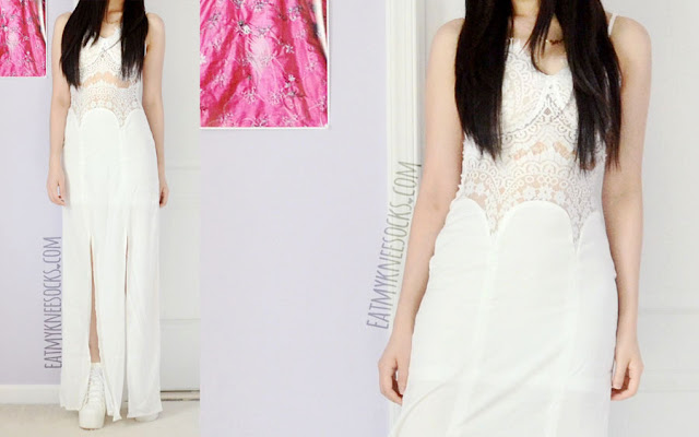 A gorgeous all-white summer outfit, with the eyelash lace cutout maxi dress from SheIn, along with white studded booties.