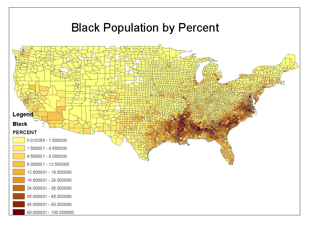 this is a map of the black population in the united states the country is divided by county and each border is represented
