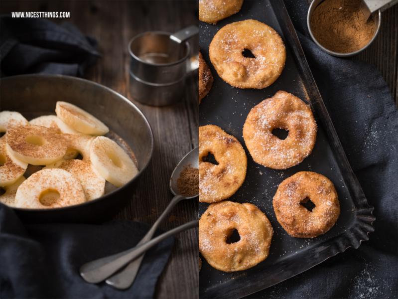 Rezept für in Fett ausgebackene Apfelringe im Bierteig