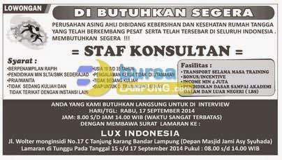 LOKER LUX INDONESIA