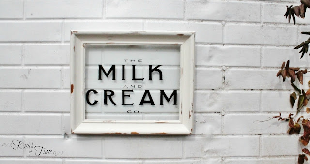 Repurposed Photo Frame Dairy Sign  by http://knickoftimeinteriors.blogspot.com/