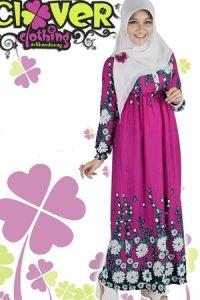 Clover Clothing Gamis Erika - Magenta (Toko Jilbab dan Busana Muslimah Terbaru)