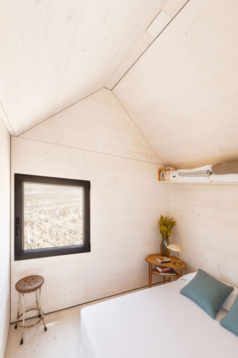 Bedroom area in a portable home