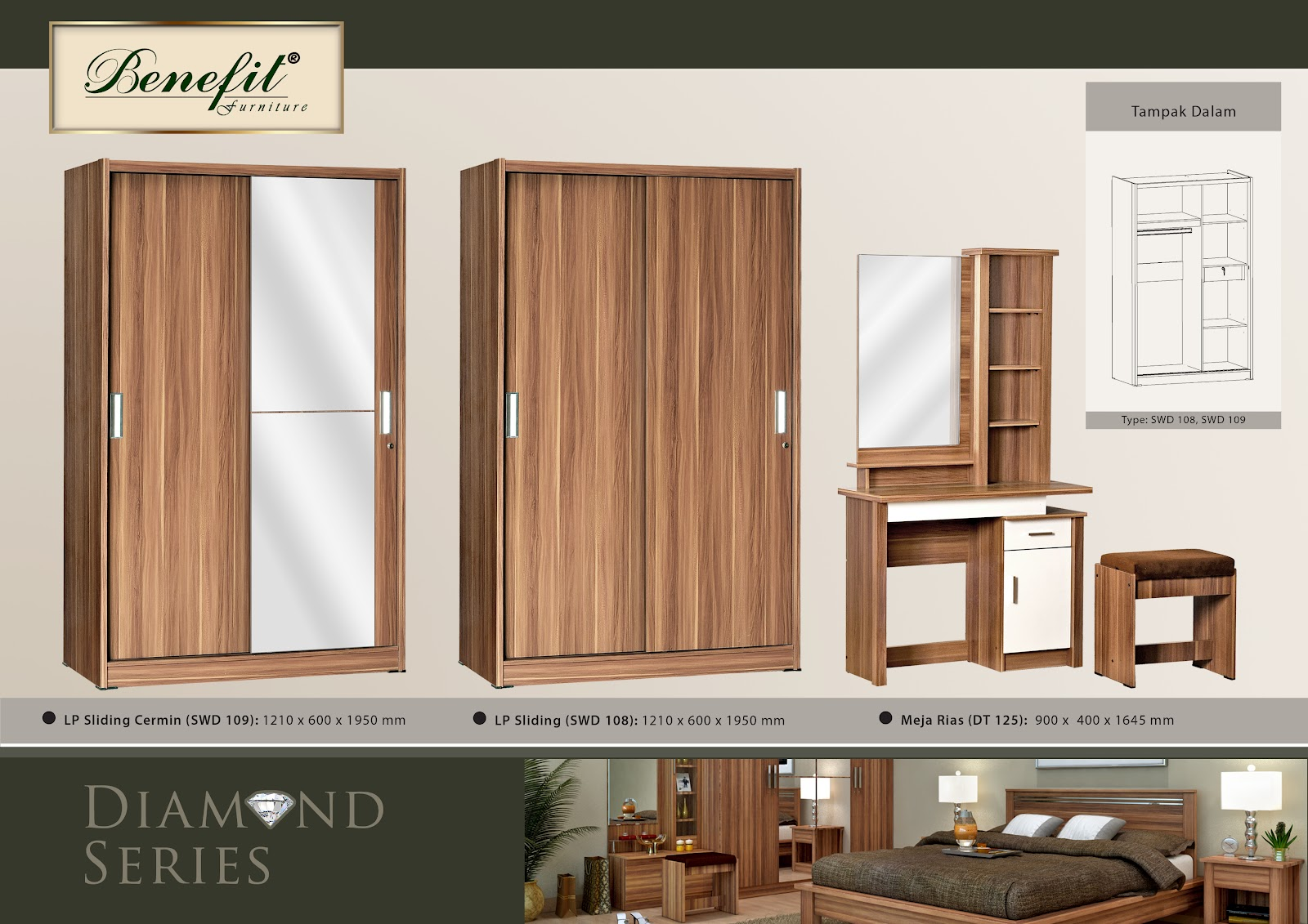 Lemari pakaian 2 pintu sliding swd 109 auto design tech for Lemari kitchen set aluminium
