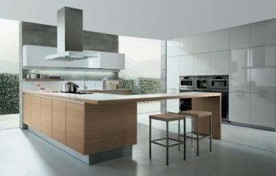 modern kitchen interior design with big windows