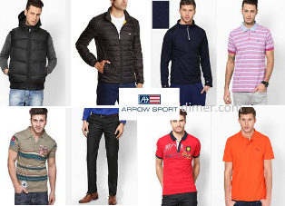 Arrow Sports Mens Clothing - Flat 50% off