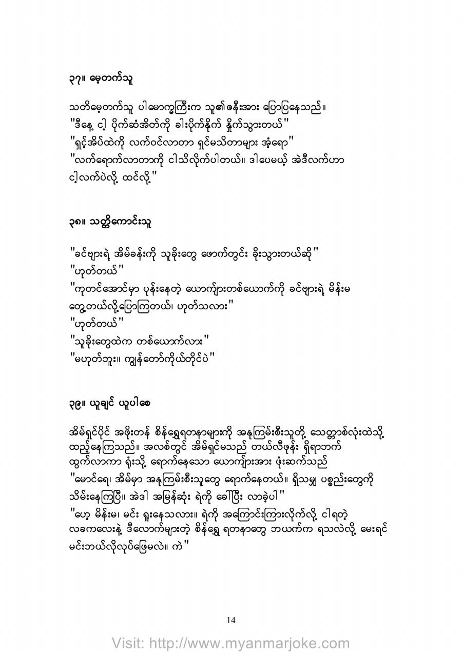 The Brave Person, myanmar jokes