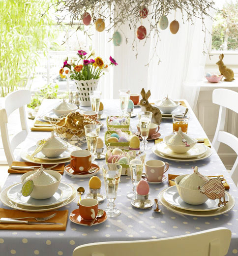 Home dzine home decor easter table decoration ideas for Breakfast table decor ideas