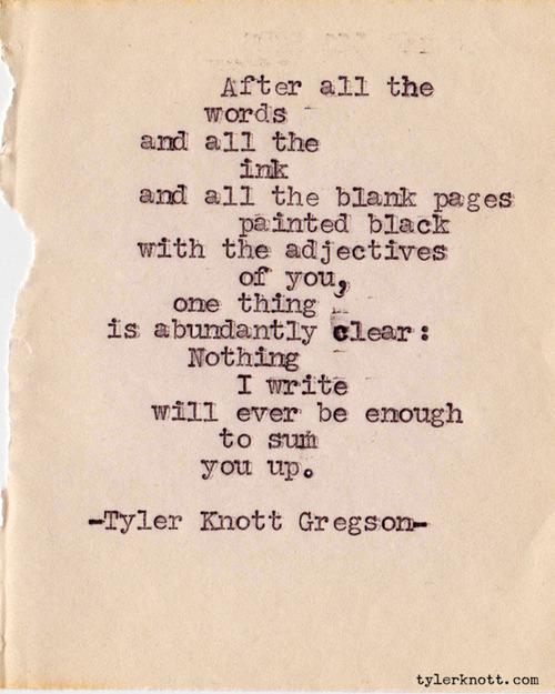 Enter Kelly: Writing love: Tyler Knott Gregson