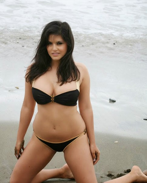Sunny Leone Hot Black Bikini Photos