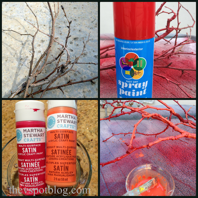 How to make fake coral. Faux red coral using sticks and paint. DIY