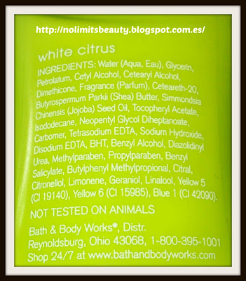 White Citrus de Bath & Body Works: ingredientes body lotion