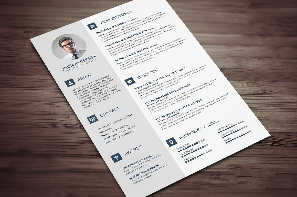 creative resume    cv template with cover letter and