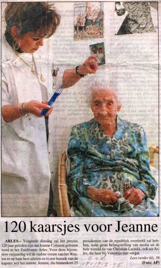 Jeanne Calment 1875-1977,  op haar 120ste verjaardag. Het Belang van Limburg  van 18 en 19 februari 1995