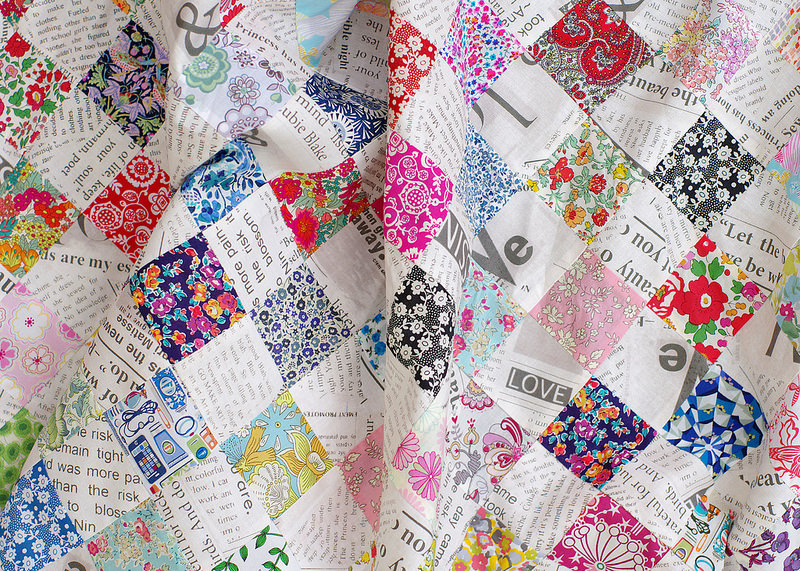 Liberty Tana Lawn and Collage Newsprint Checkerboard Quilt - Red Pepper Quilts