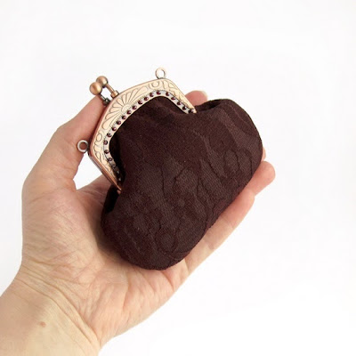 brown coin purse, sewing
