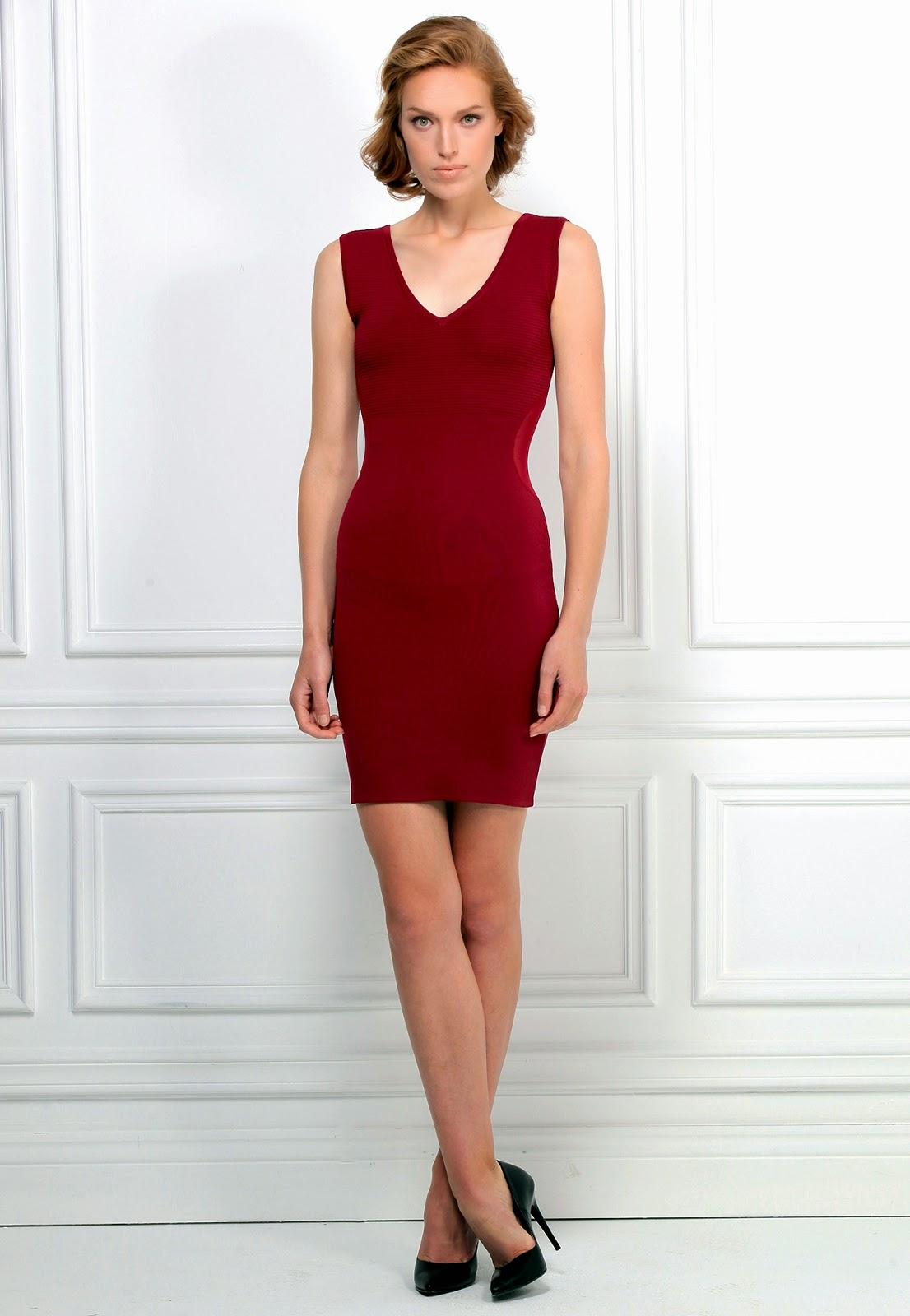 v yaka elbise, bordo elbise, kısa elbise, kolsuz elbise, klasik elbise, şık elbise, adil ışık elbise modelleri, 2015 elbise modelleri