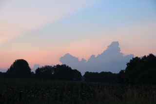 photo of thunderheads at sunrise