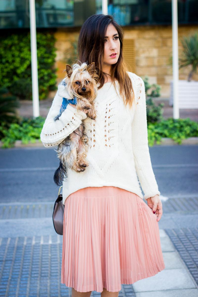 pleated midi pink skirt