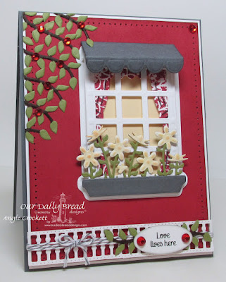 ODBD Custom Lovely Leaves Dies, ODBD Custom Welcoming Window Dies, ODBD Custom Windows Dies, ODBD Custom Window Shutter and Awning Dies, ODBD Custom Flower Box Fillers Dies, ODBD Custom Gilded Gate Dies, ODBD Home Sweet Home, ODBD Chalkboard Vine Background, Card Designer Angie Crockett